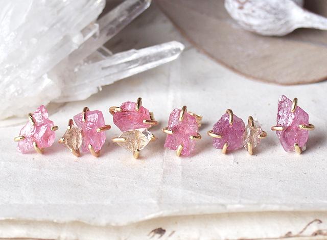 原石のピンクトルマリンとダイヤモンドクォーツのピアス