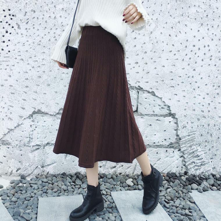 【送料無料】 大人可愛い♡ ケーブル編み ニット ロング スカート 脚長 プリーツ ハイウエスト 秋冬
