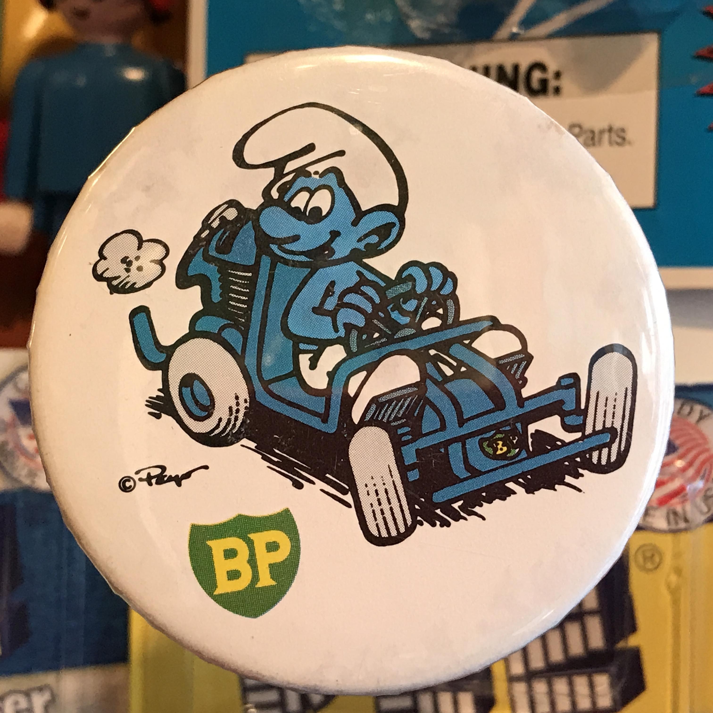 スマーフ 80's BP 企業物 オールド 缶バッジ バギーver.