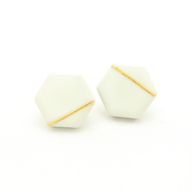 伝統工芸品 美濃焼 六角形 光芒のイヤリング&ピアス