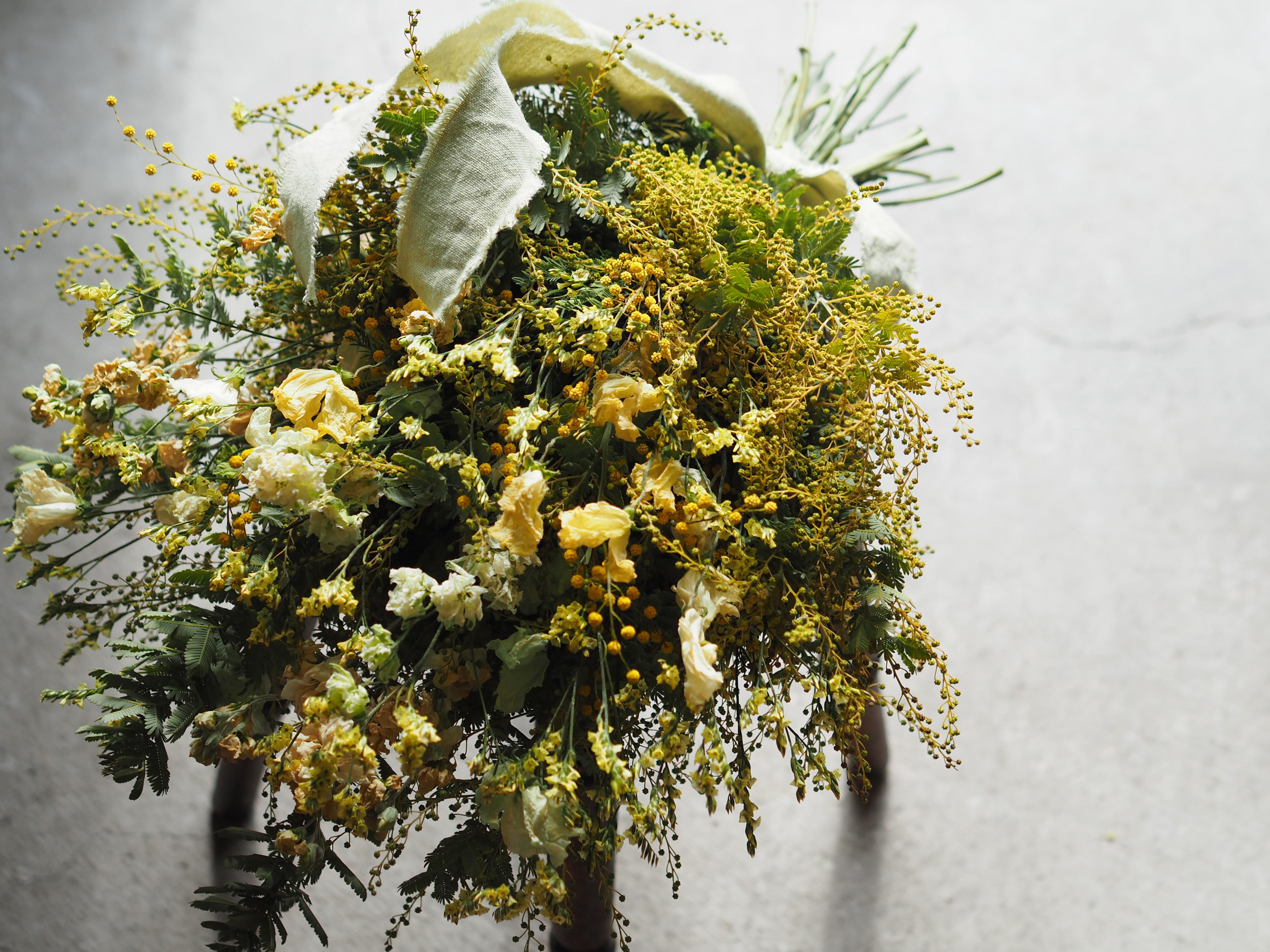 【ドライスワッグ】ミモザと春の花 L