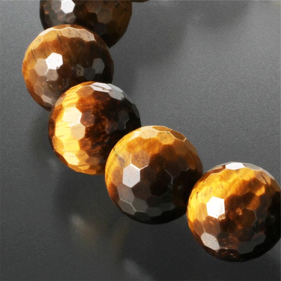 【強運パワーブレス】天然石 大玉虎目石 タイガーアイ 128面カット ブレスレット(12mm)