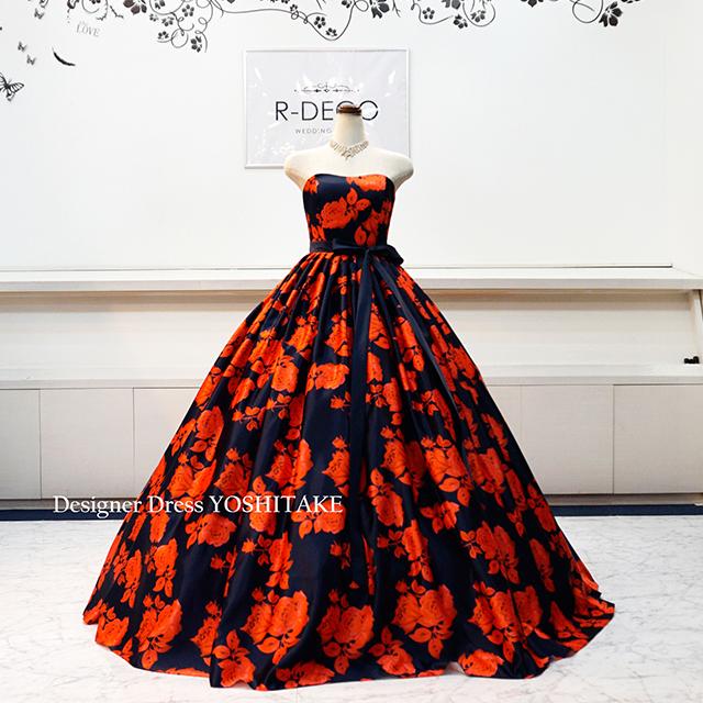 【オーダー制作】ウエディングドレス ネイビーベース赤花柄 披露宴/お色直し ※制作期間3週間から6週間