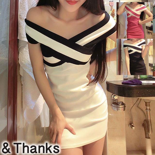 ドレス特集 クロスオフショルダードレス 2カラー 4サイズ