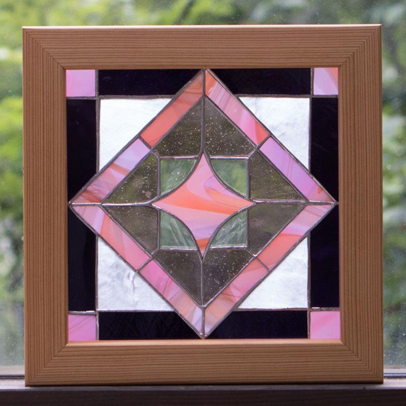 キューブピンク(ステングラスのアートパネル) 03050115