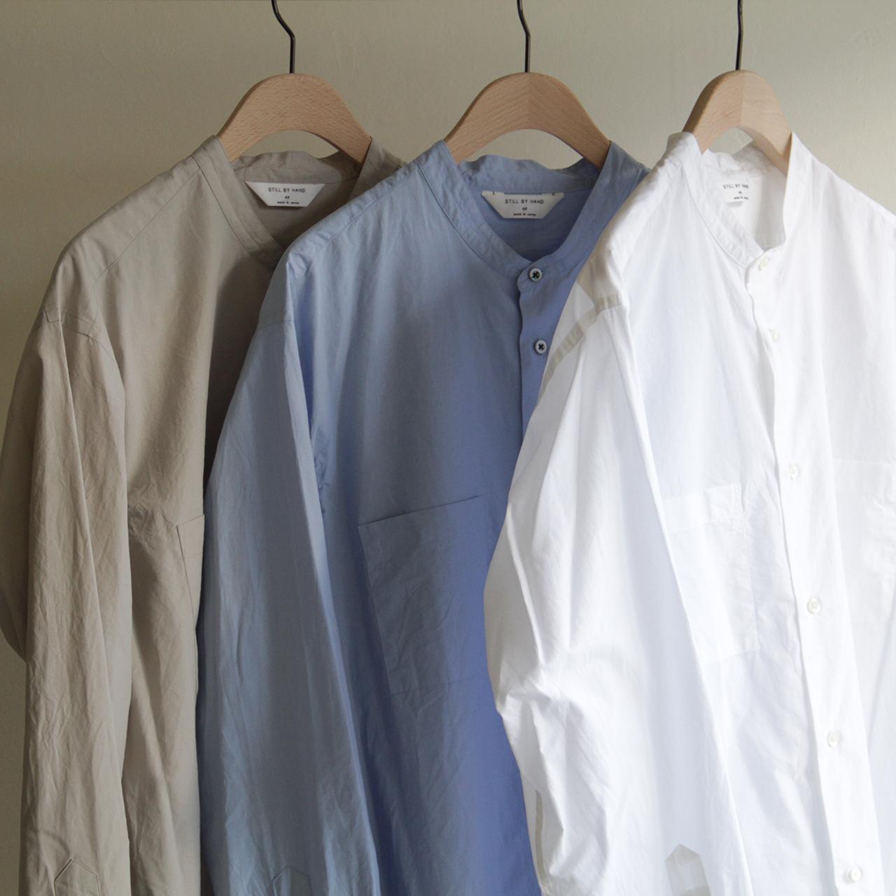 STILL BY HAND【 mens 】w-pocket band-collar shirts