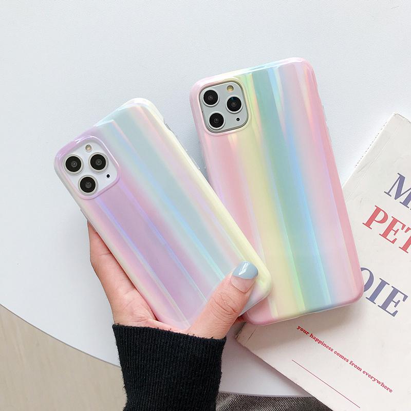 【お取り寄せ商品、送料無料】2カラー グラデーション レインボー iPhoneケース iPhone11