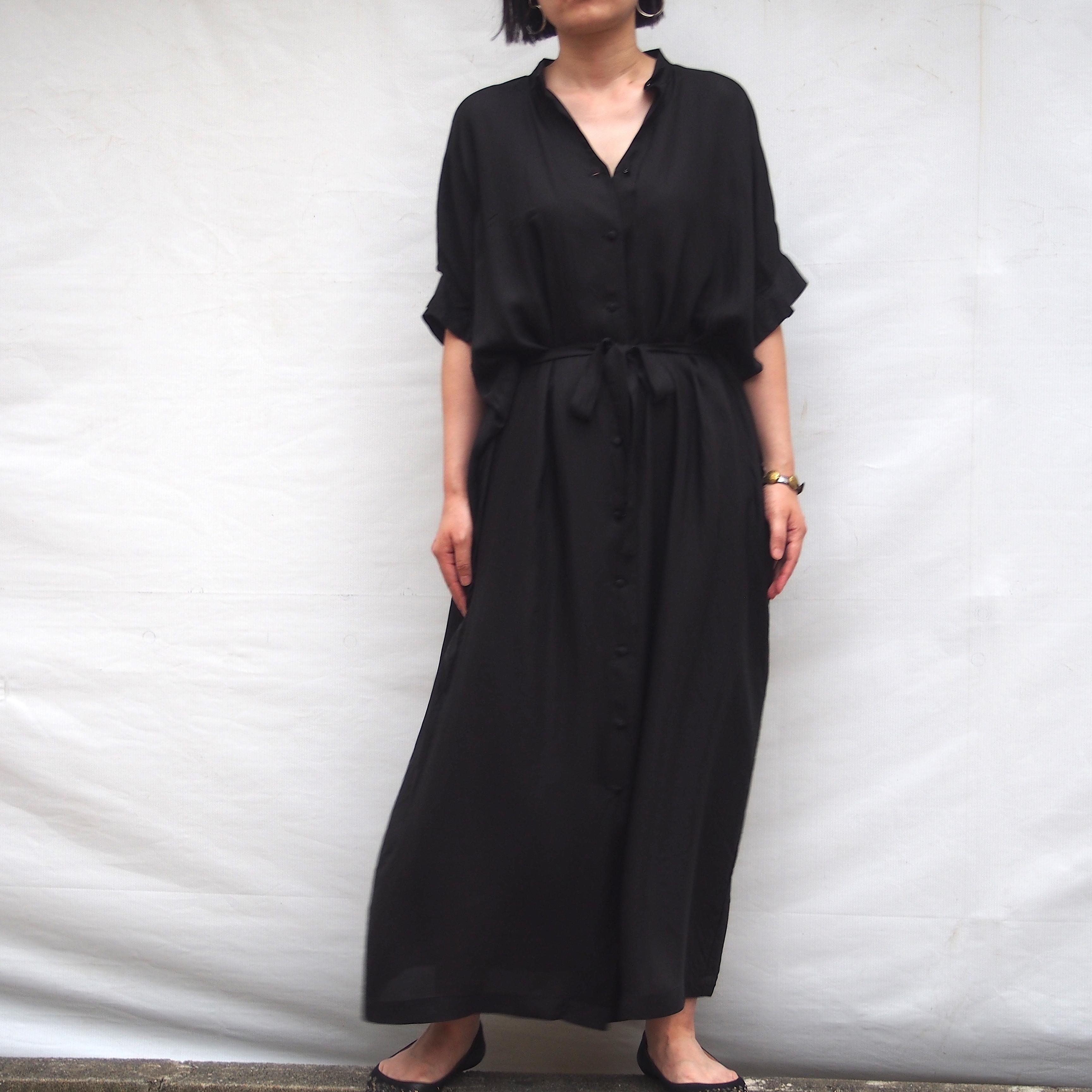 【hippiness】cupro  tack sleeve  one piece(Black) /【ヒッピネス】キュプラ タックスリーブ ワンピース(ブラック)