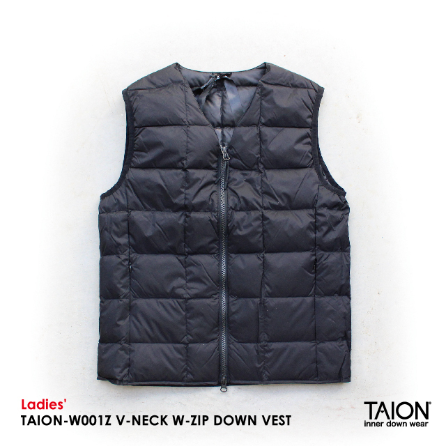 Ladies' / TAION-W001Z V-NECK W-ZIP DOWN VEST / BLACK