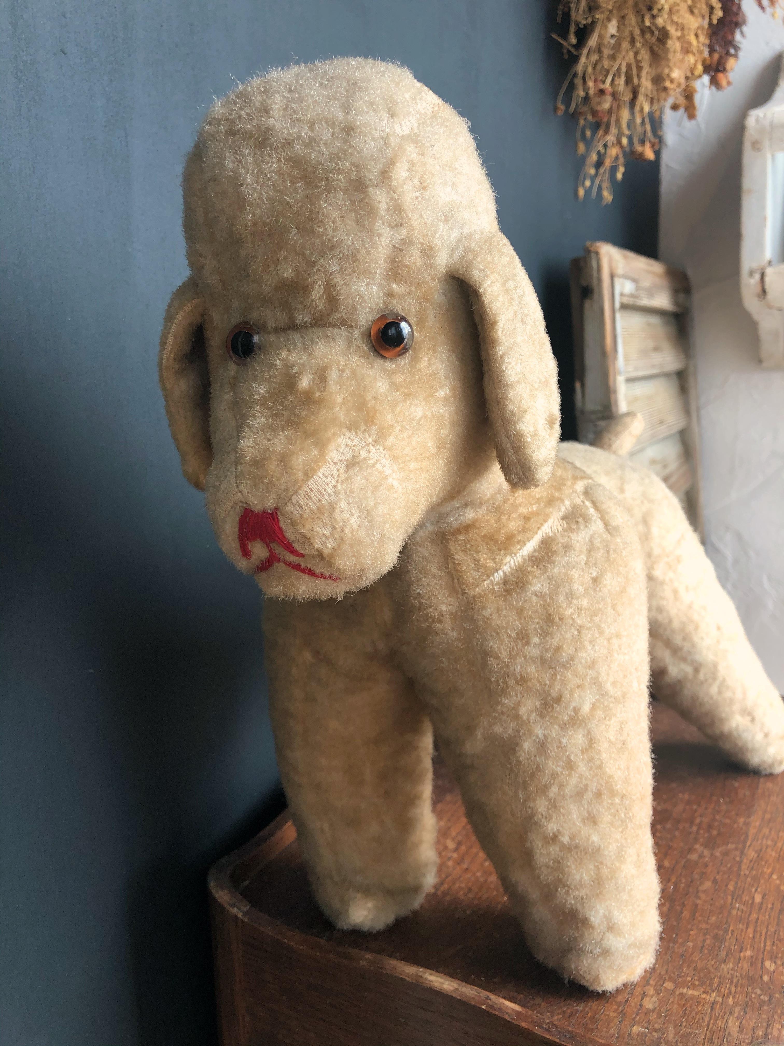フランスアンティーク プードル 犬ぬいぐるみ ブラウン台形フェイス