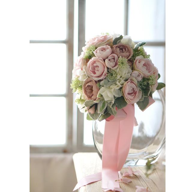 【3点セット】アンティークピンクのフリルバラとシルバーリーフのラウンドブーケ+ブトニア+花冠