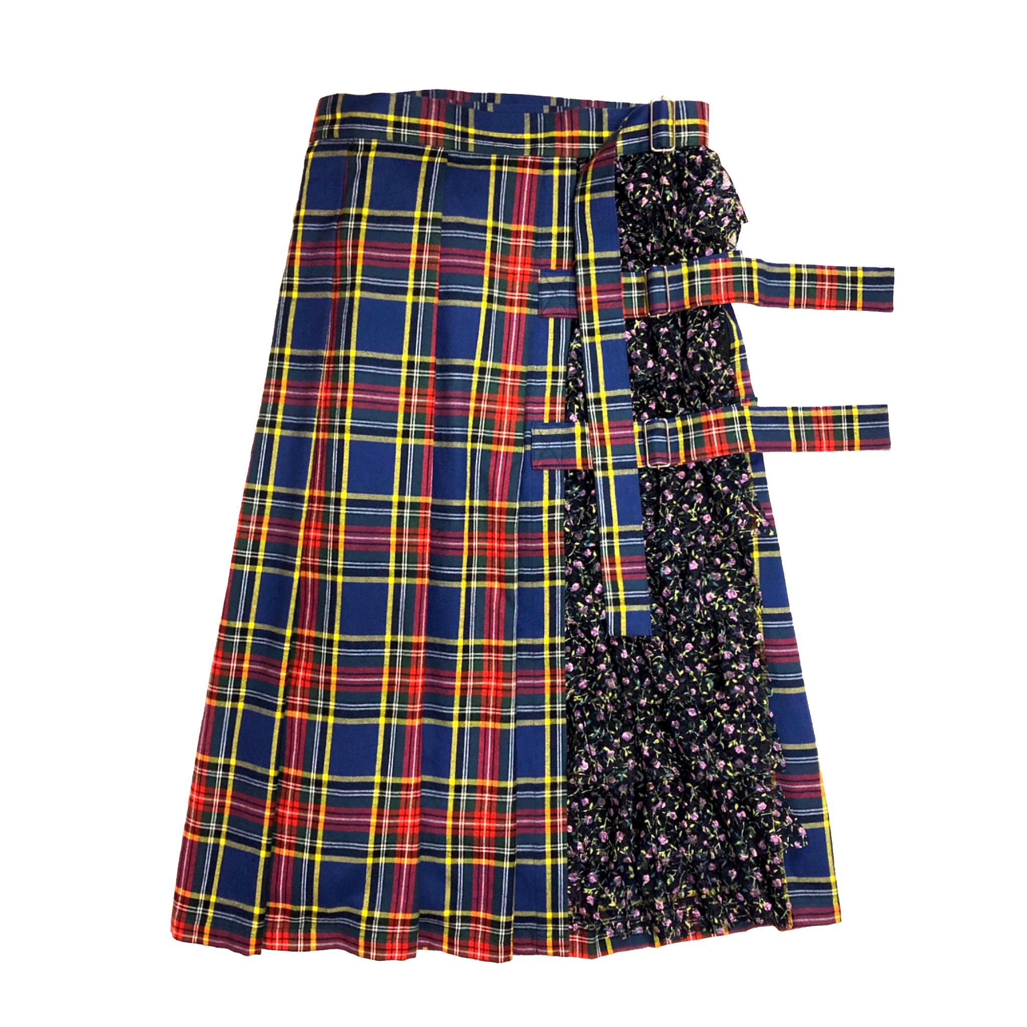 フリル巻きスカート(青チェック)