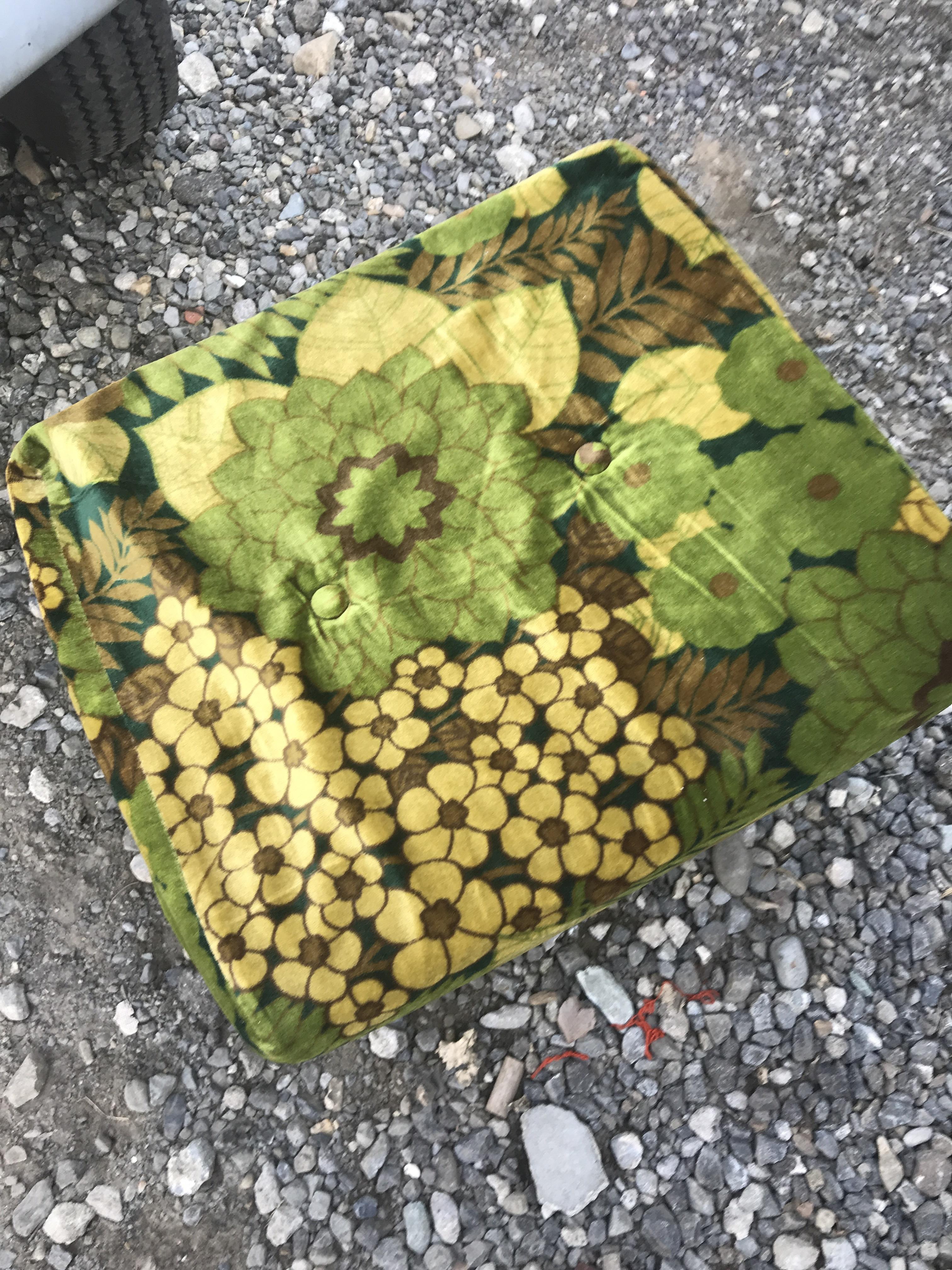 レトロ 花柄 オットマン