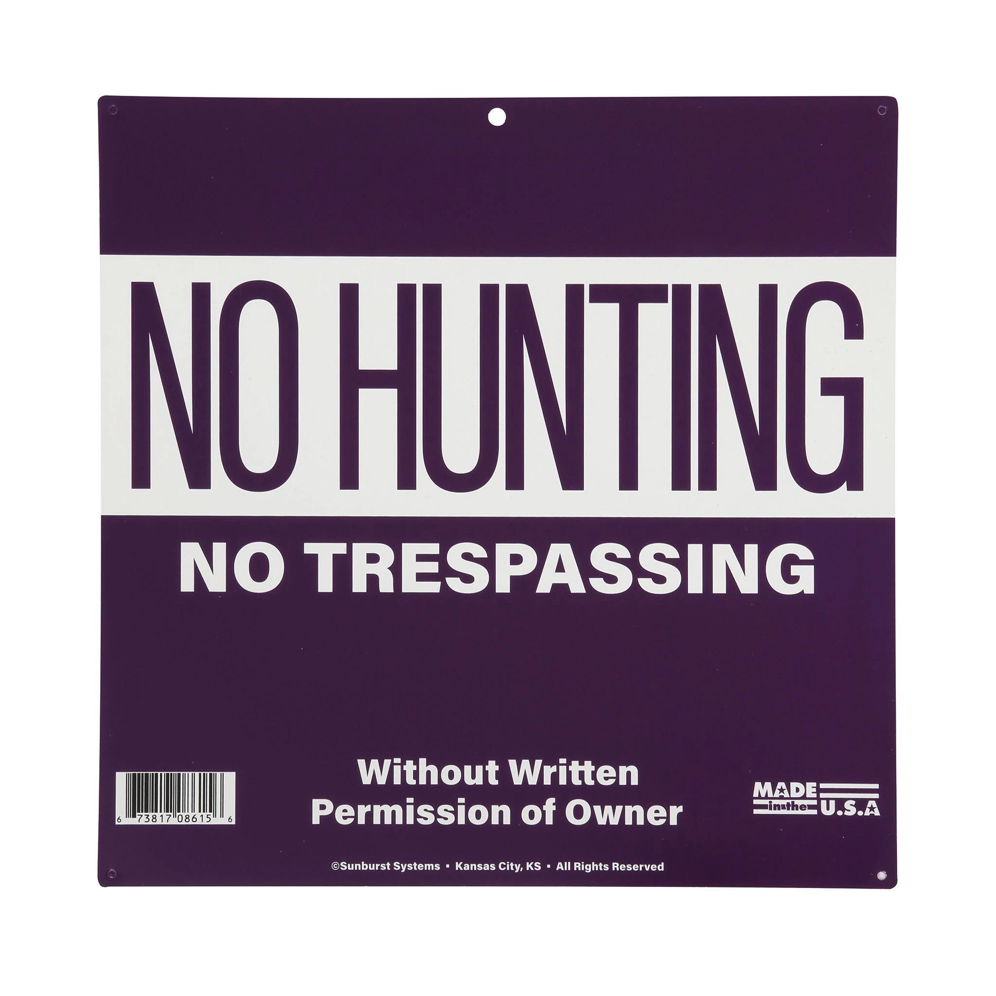 "SUNBURST-SYSTEMS 12""x12""  No Hunting/ Trespassing Sign プラスチックサイン"
