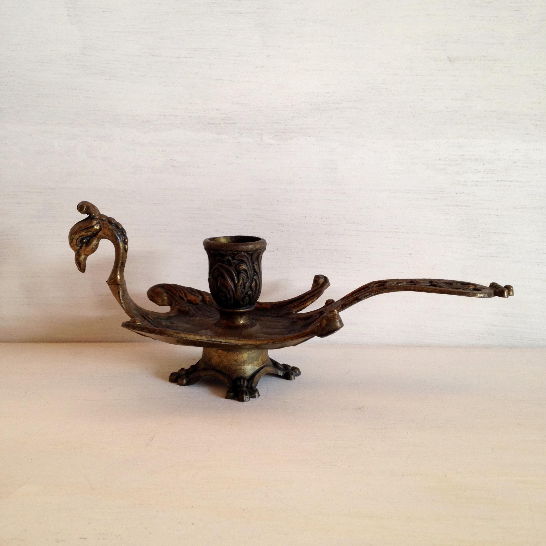 鳥型真鍮製のキャンドルスタンド