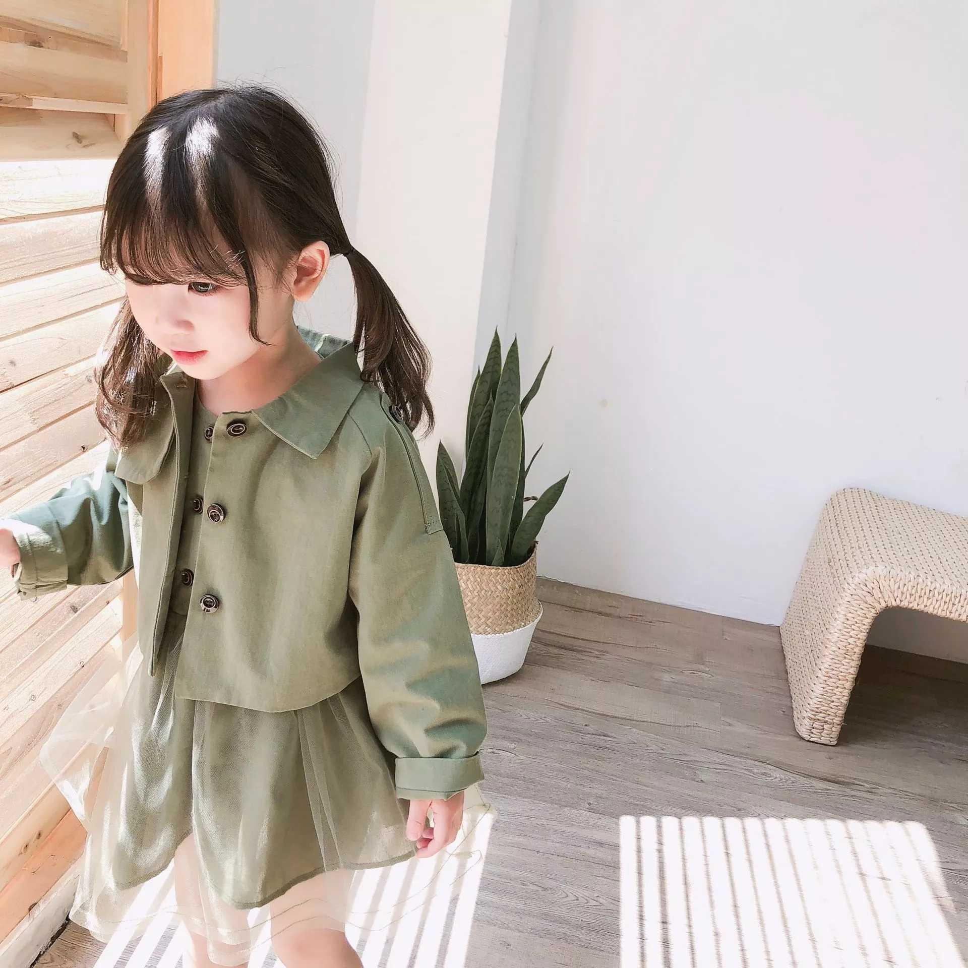 fe75ff192502ee 【女の子キッズ ワンピース+ジャケット】韓国子供服 キッズドレス カーキ シフォン風 ワンピース