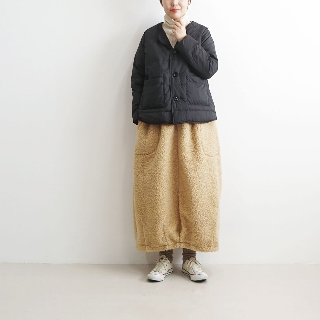 【再入荷なし】 NARU ナル ノーカラーダウンジャケット (品番634111)