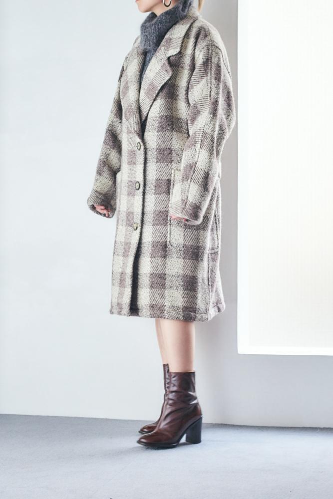 Block Plaid Wool Coat