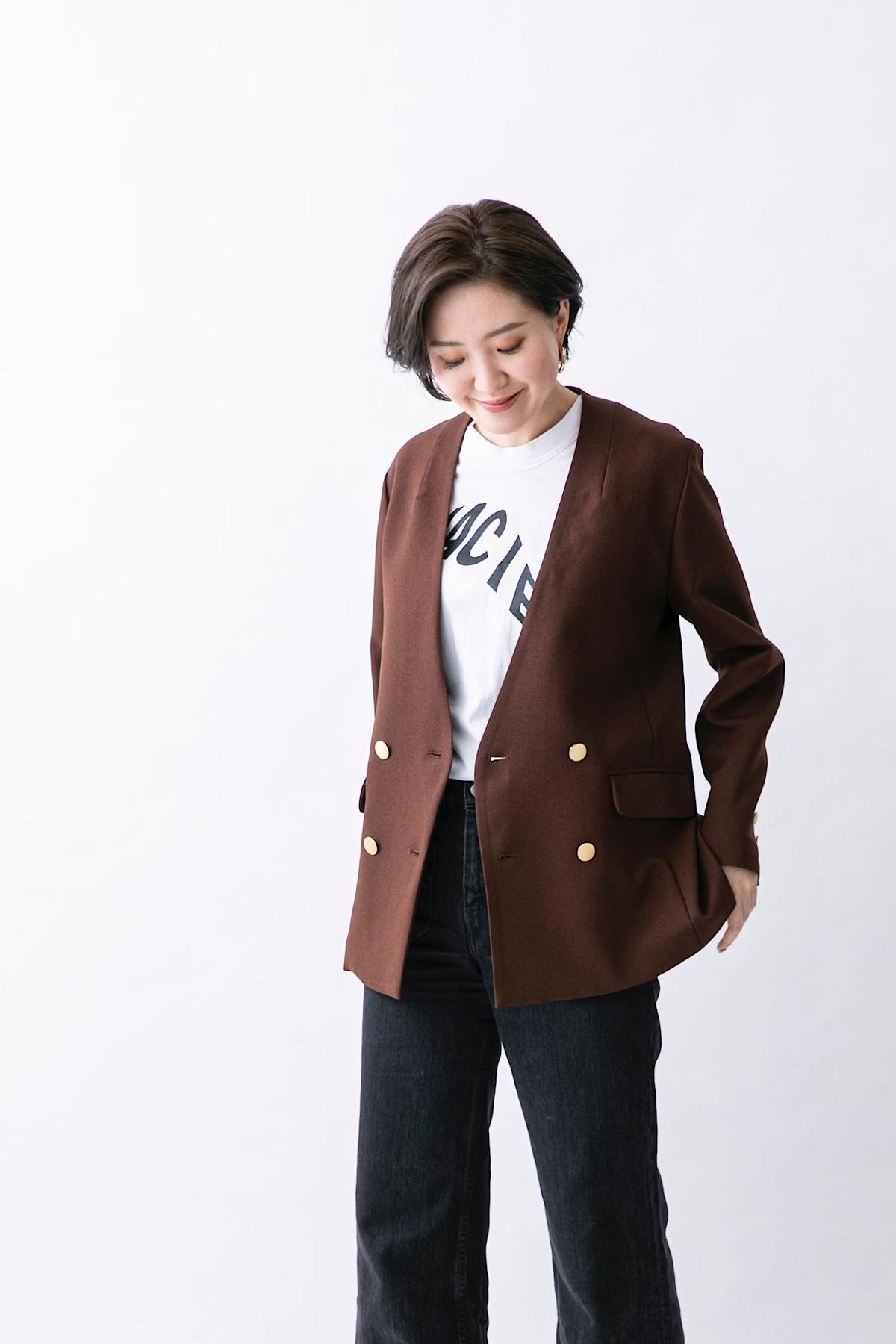 ノーカラーダブルジャケット 2色:ブラウン
