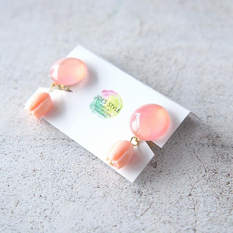 """ Earrings NO.0-1850″ ヴィンテージ ミルキーピンク お花"