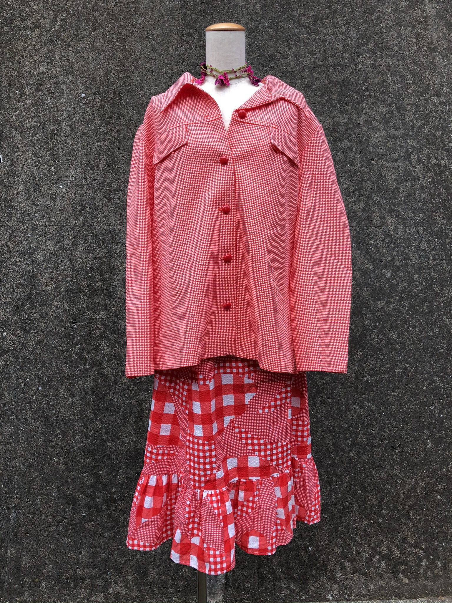 red check pattern jacket