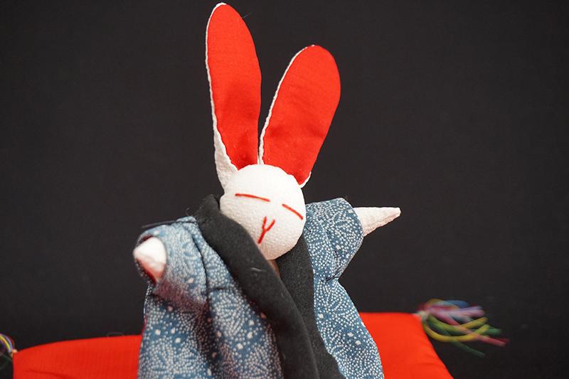 着物、和服の古布人形「どてらうさぎ」 - 画像3