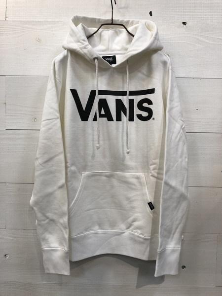 VANS (バンズ) クラシックロゴ プリント プルオーバー パーカー ホワイト VANS-MC01