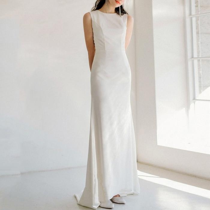 ウエディングドレス フィッシュテール ノースリーブ 白 ワンピース
