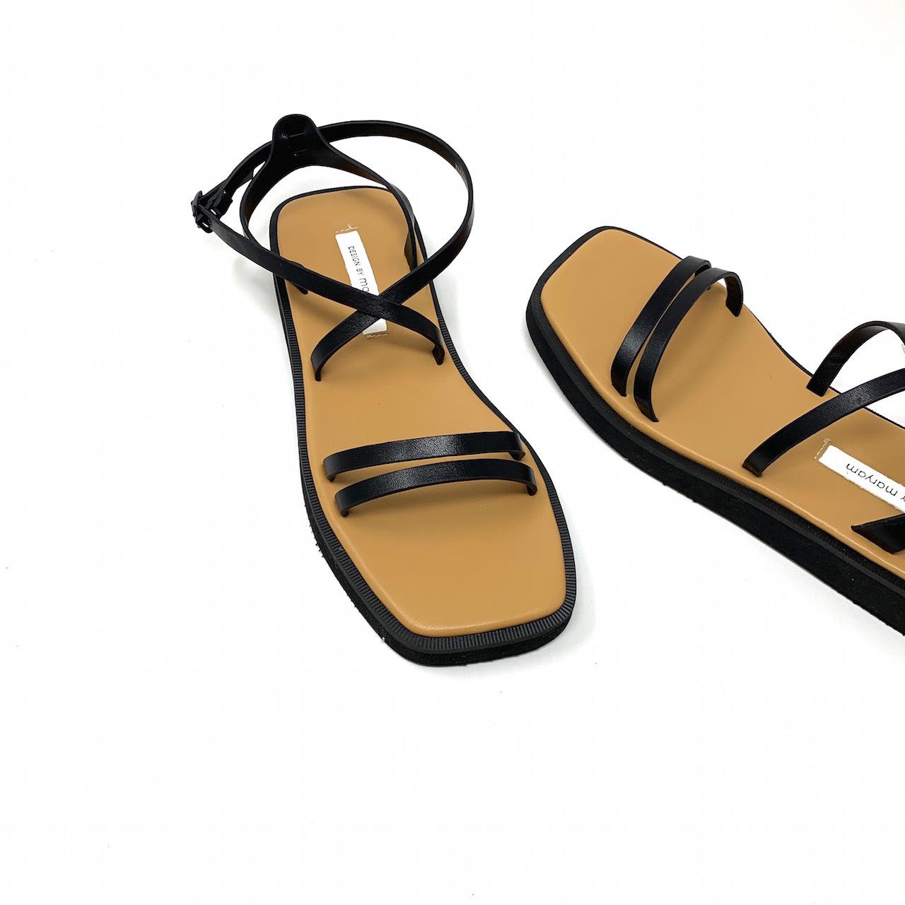 Flat String Cross Sandal   フラットストリングクロスサンダル  #kr0026 ブラック