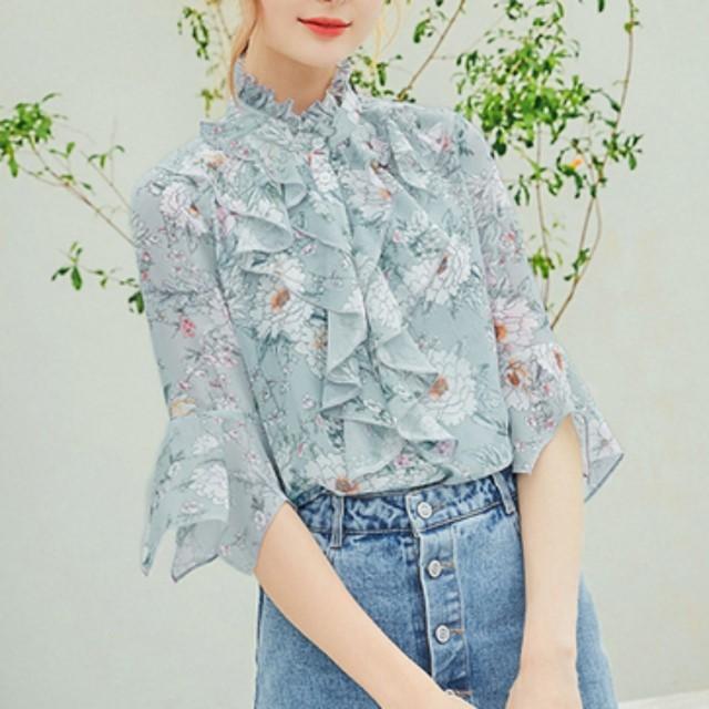 2018 春夏の新作 花柄 シフォンブラウス 5分袖 フェミニン スタンドカラー ふんわり 夏