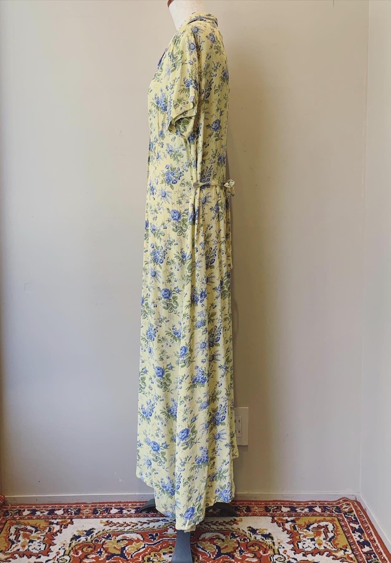 vintage lemon color flower onepiece
