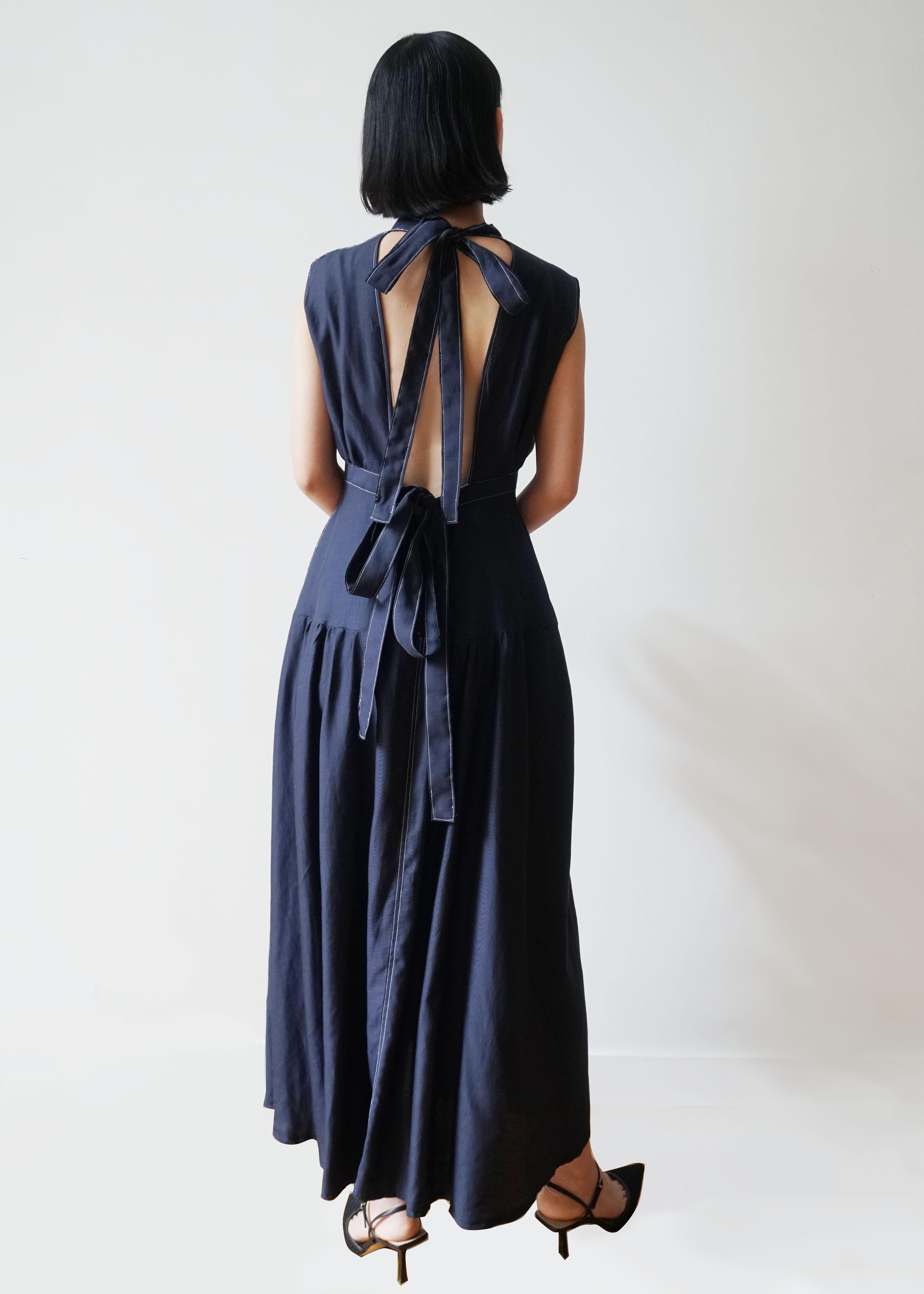 IAPETUS BACK BOW TIE DRESS / Navy