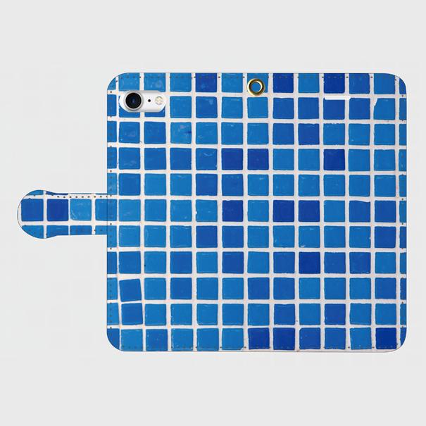 モザイクタイル(青)/ iPhoneスマホケース(手帳型ケース)