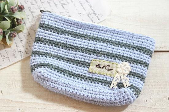 手編みのポーチ 大*ブルー・グリーン ボーダー/sakura 型番:P-9