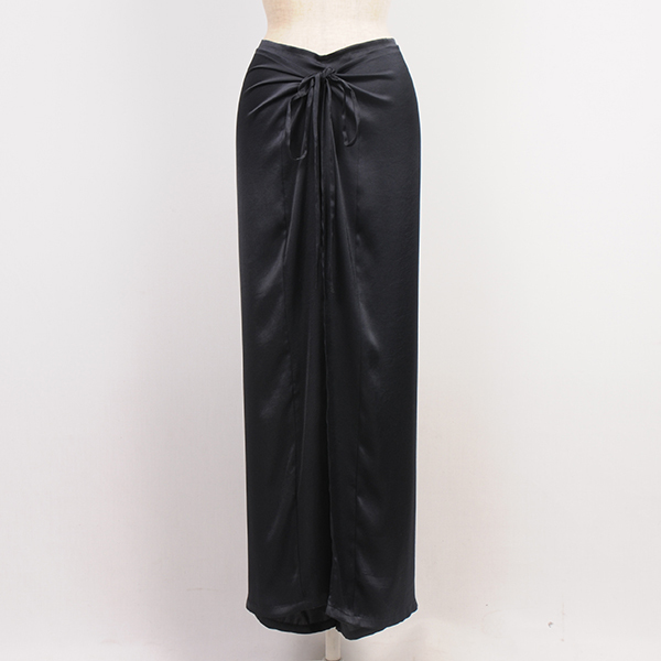 df17SM-07 VINTAGE SATIN RELAX PANTS (black)