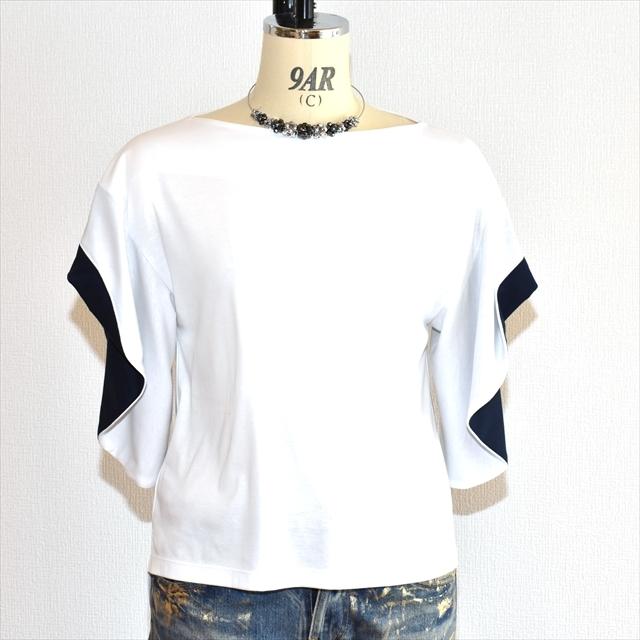 アシャ オーガニック コットン フレア袖ブラウス 白×紺