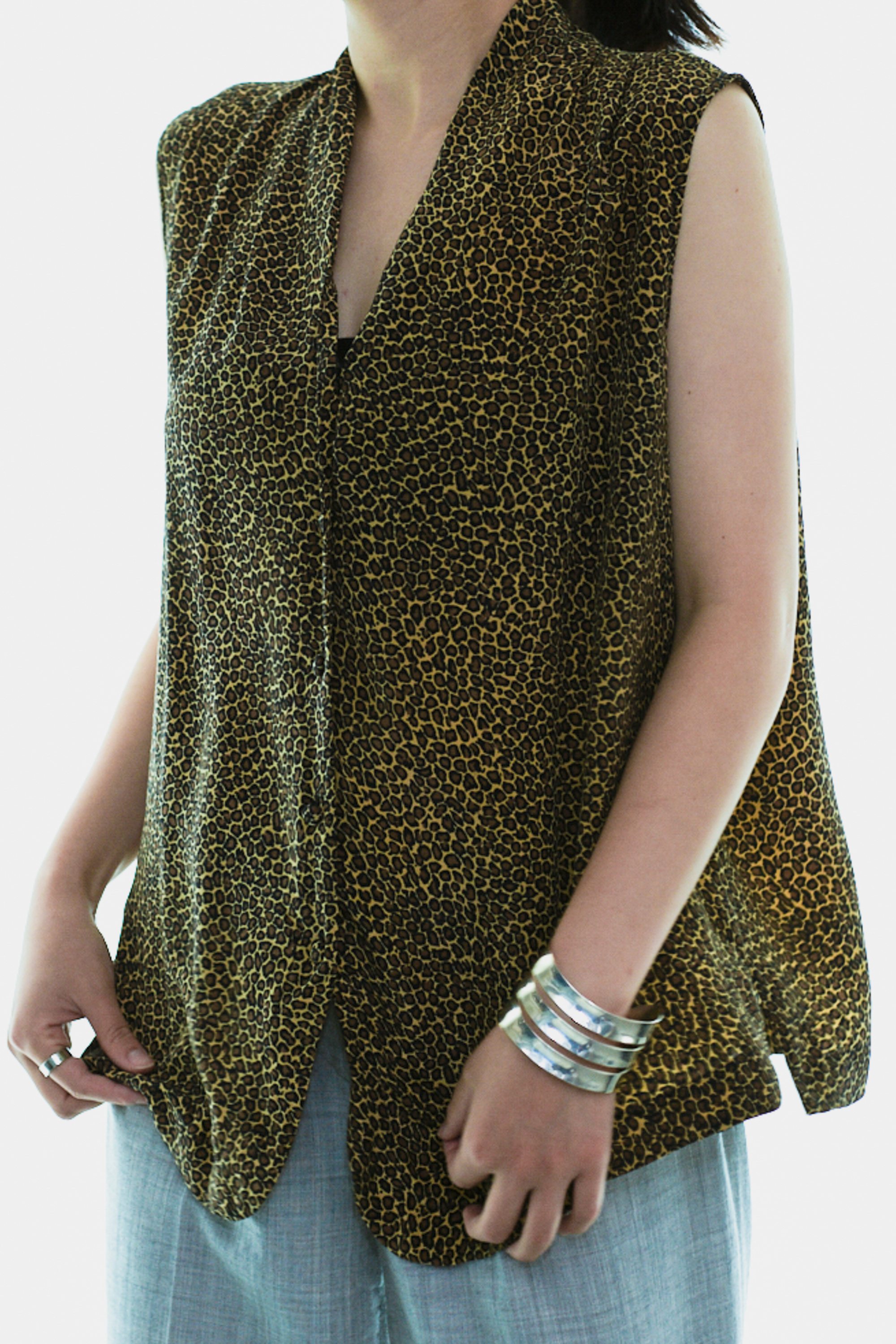70's Leopard Pattern Non-Sleeve Tops