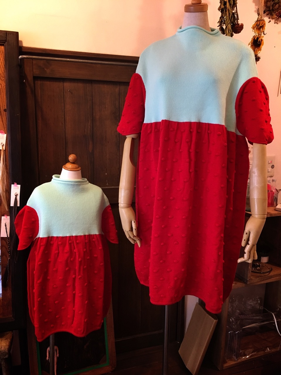 2TONE CIRCLE POPCORN KNIT DRESS women 送料無料