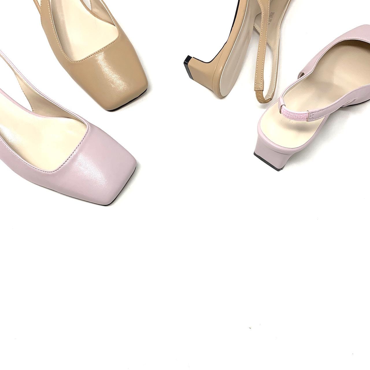 Square set back heel BB Pumps  スクエアトゥ・バックオープンパンプス  #kr0017