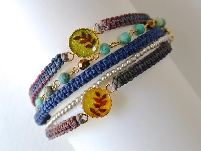 木の葉の編み紐ブレス<3種>