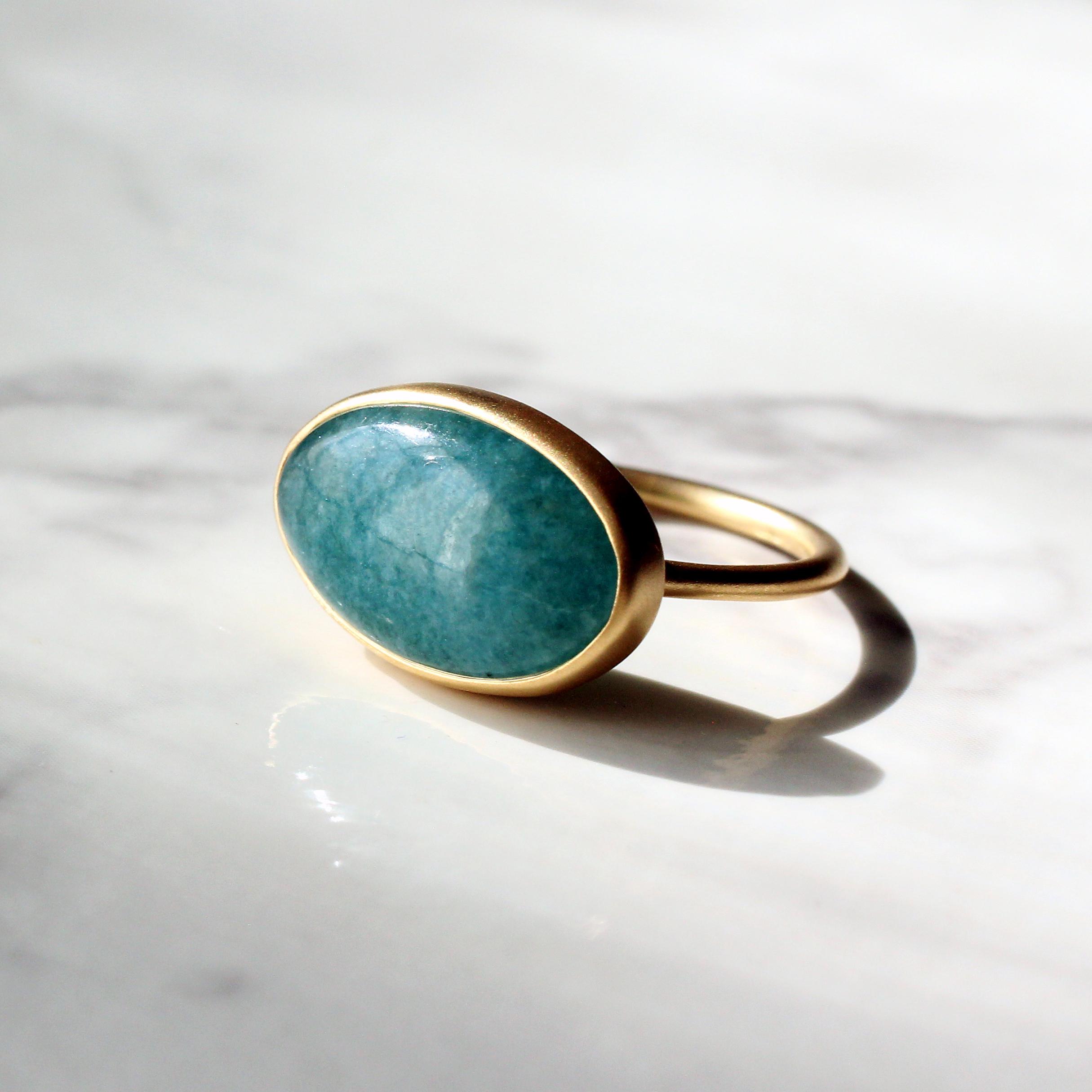 Blue jade ring / K18YG