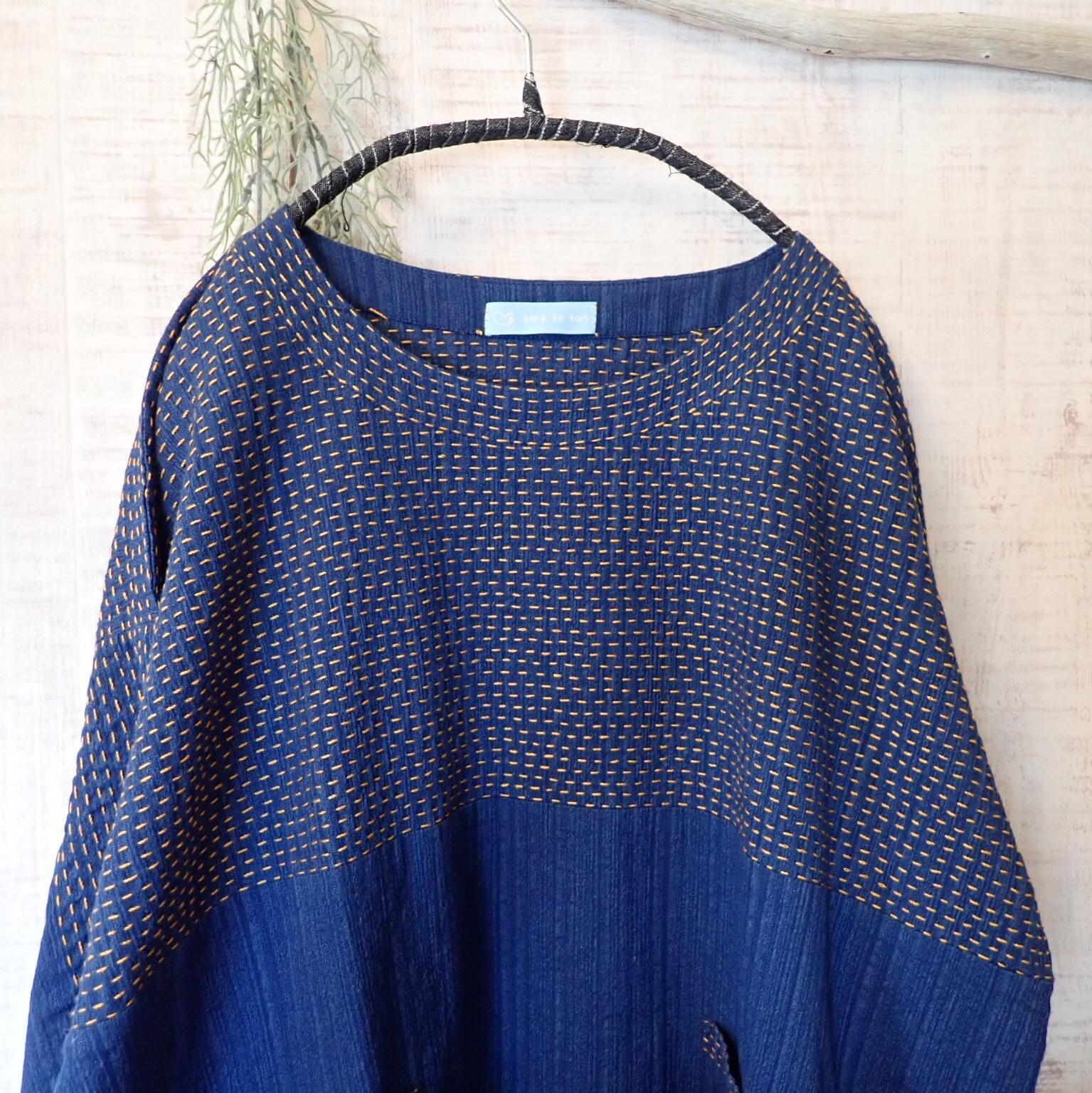 チェンマイ ちくちく刺し子の七分袖チュニック 青柄 おれんじ糸