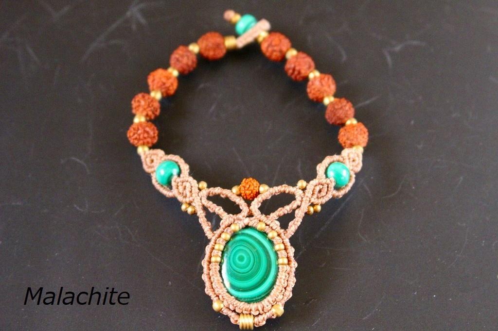 Malachite rudraksha macrame bracelet