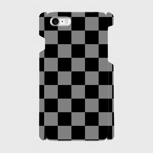 チェック柄(黒・灰)/ iPhoneスマホケース(ハードケース)