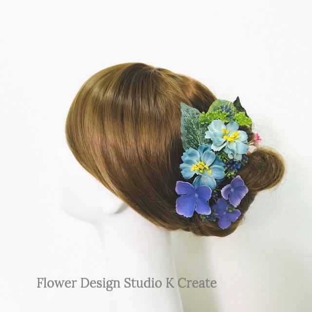 紫陽花と小花のUピン(6本セット) 浴衣髪飾り ピーチピンク ブルー アジサイ