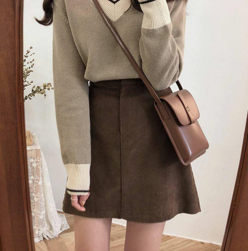 【送料無料】 レトロガーリーに♡ コーデュロイ ハイウエスト ミニ スカート 台形