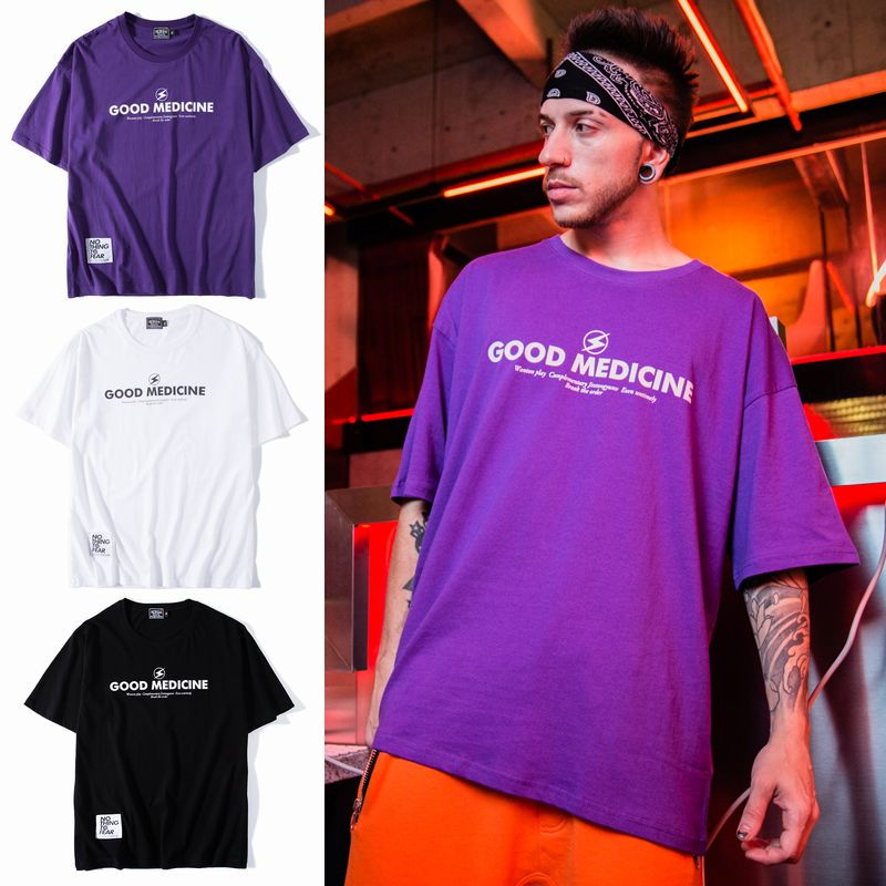 ユニセックス Tシャツ 半袖 メンズ レディース ラウンドネック 英字 プリント タグ オーバーサイズ 大きいサイズ ルーズ ストリート