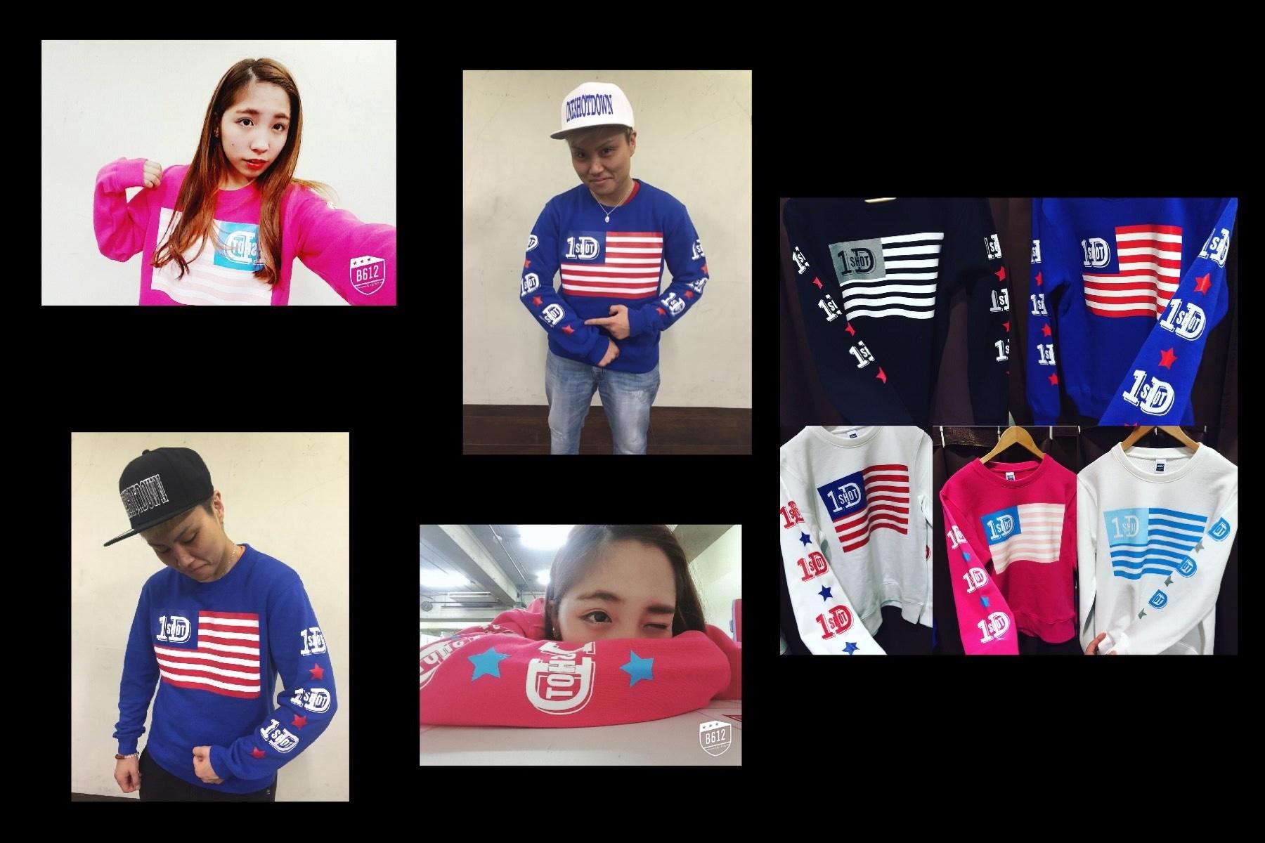 ONESHOTDOWN USA国旗デザイン クールネック スウェット - 画像4