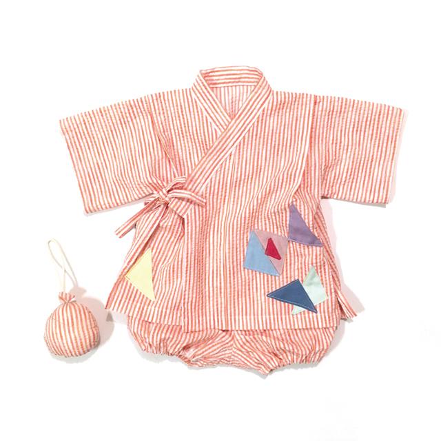 赤ちゃんじんべい ピンクオレンジストライプ × きんぎょ