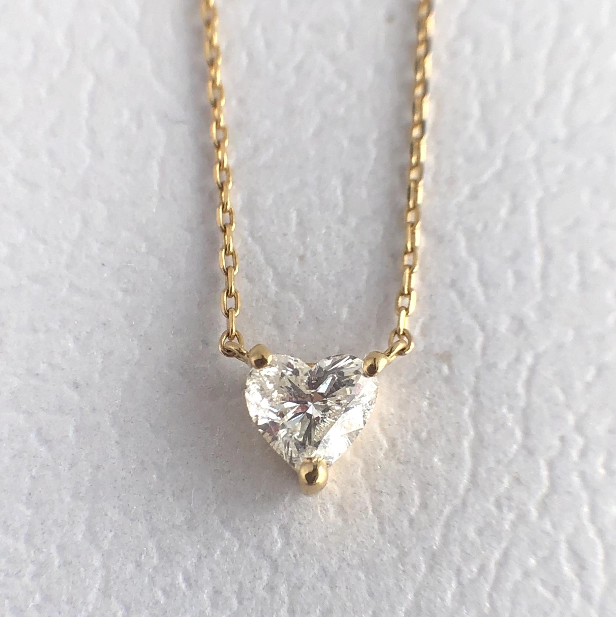 ハートシェイプカット ダイヤモンド ネックレス 0.243ct K10イエローゴールド  チェカ 鑑別書付